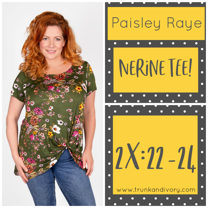 Paisley Raye Nerine Front-Knot Tee Size 2X Forest Green Floral Shop at www.trunkandivory.com