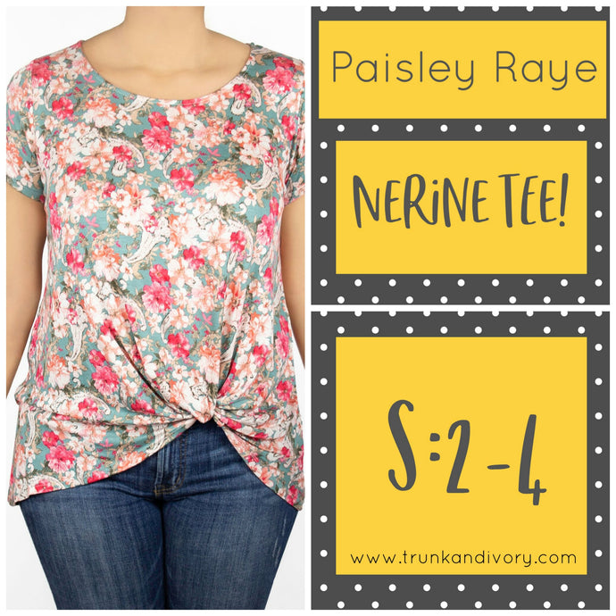 Paisley Raye Nerine Front-Knot Tee Size S Teal Floral Shop at www.trunkandivory.com