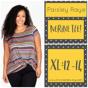 Paisley Raye Nerine Front-Knot Tee Size XL Multicolor stripe Shop at www.trunkandivory.com