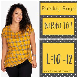 Paisley Raye Nerine Front-Knot Tee Size L Yellow Plaid Shop at www.trunkandivory.com