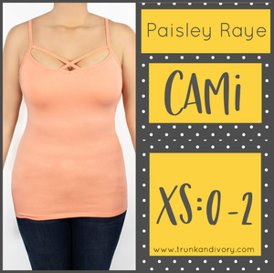 Paisley Raye Criss Cross Cami- XS-Peach By, Trunk and Ivory, Shop now at www.trunkandivory.com