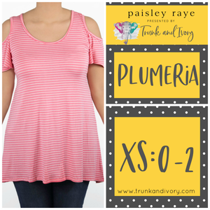 Paisley Raye Plumeria cold shoulder top-Pink Stripe-Size XS By, Trunk and Ivory, Shop now at www.trunkandivory.com