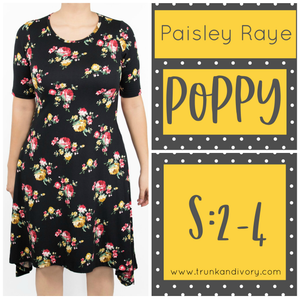 Paisley Raye PoppyT-Shirt Dress- Black Floral Print- Size S By, Trunk and Ivory, Shop now at www.trunkandivory.com