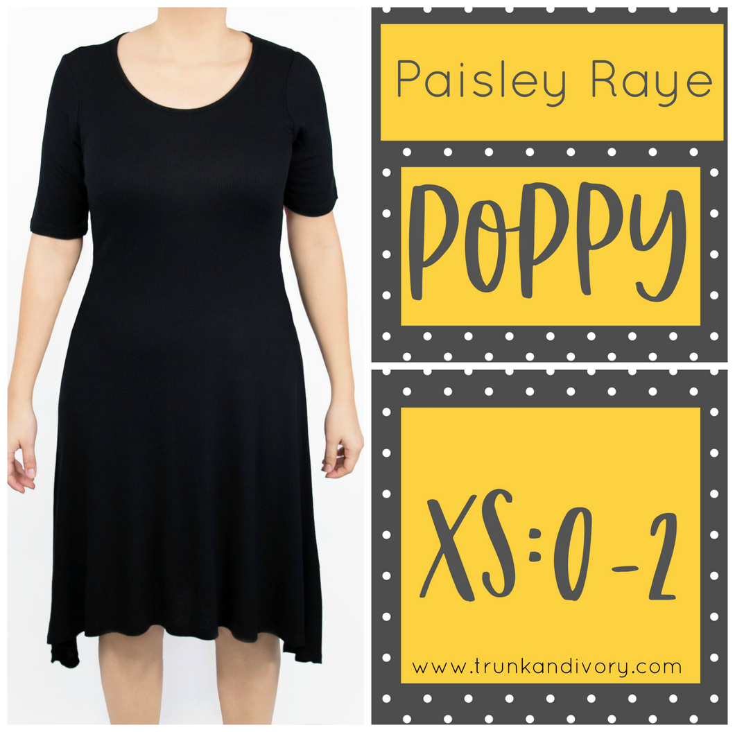 Paisley Raye Poppy T-shirt Dress -Black- Size XS By, Trunk and Ivory, Shop now at www.trunkandivory.com