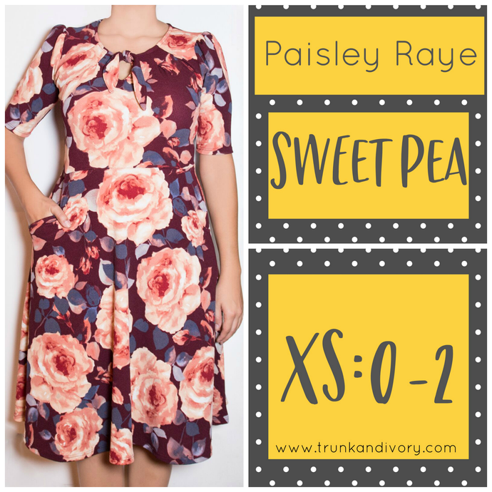 Paisley Raye Sweet Pea-Plum Floral Print- Size XS By, Trunk and Ivory, Shop now at www.trunkandivory.com