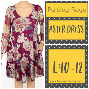 Paisley Raye Keyhole Aster Dress Size L Red Floral Shop at www.trunkandivory.com