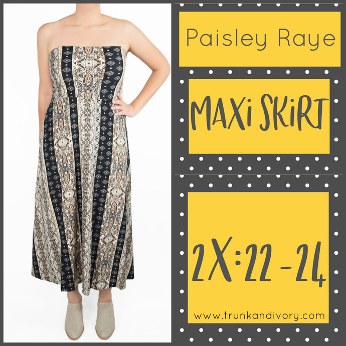 Paisley Raye Convertible Maxi Skirt- Brown Stripe Floral- Size 2X Shop at www.trunkandivory.com