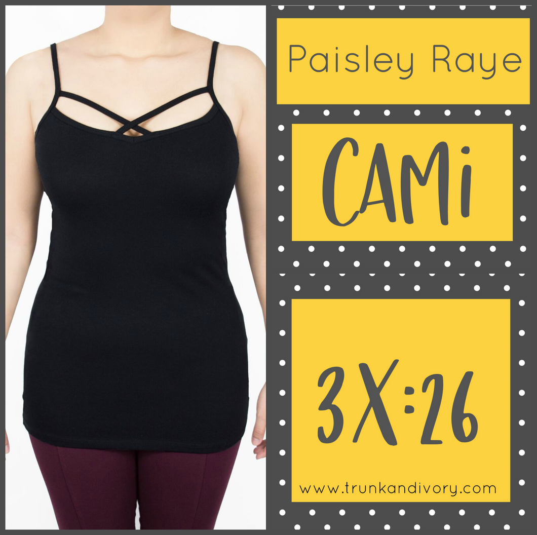 Paisley Raye Criss Cross Cami- 3X - Black By, Trunk and Ivory, Shop now at www.trunkandivory.com