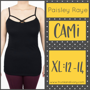 Paisley Raye Criss Cross Cami- XL- Black By, Trunk and Ivory, Shop now at www.trunkandivory.com