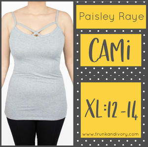 Paisley Raye Criss Cross Cami- XL- Gray By, Trunk and Ivory, Shop now at www.trunkandivory.com