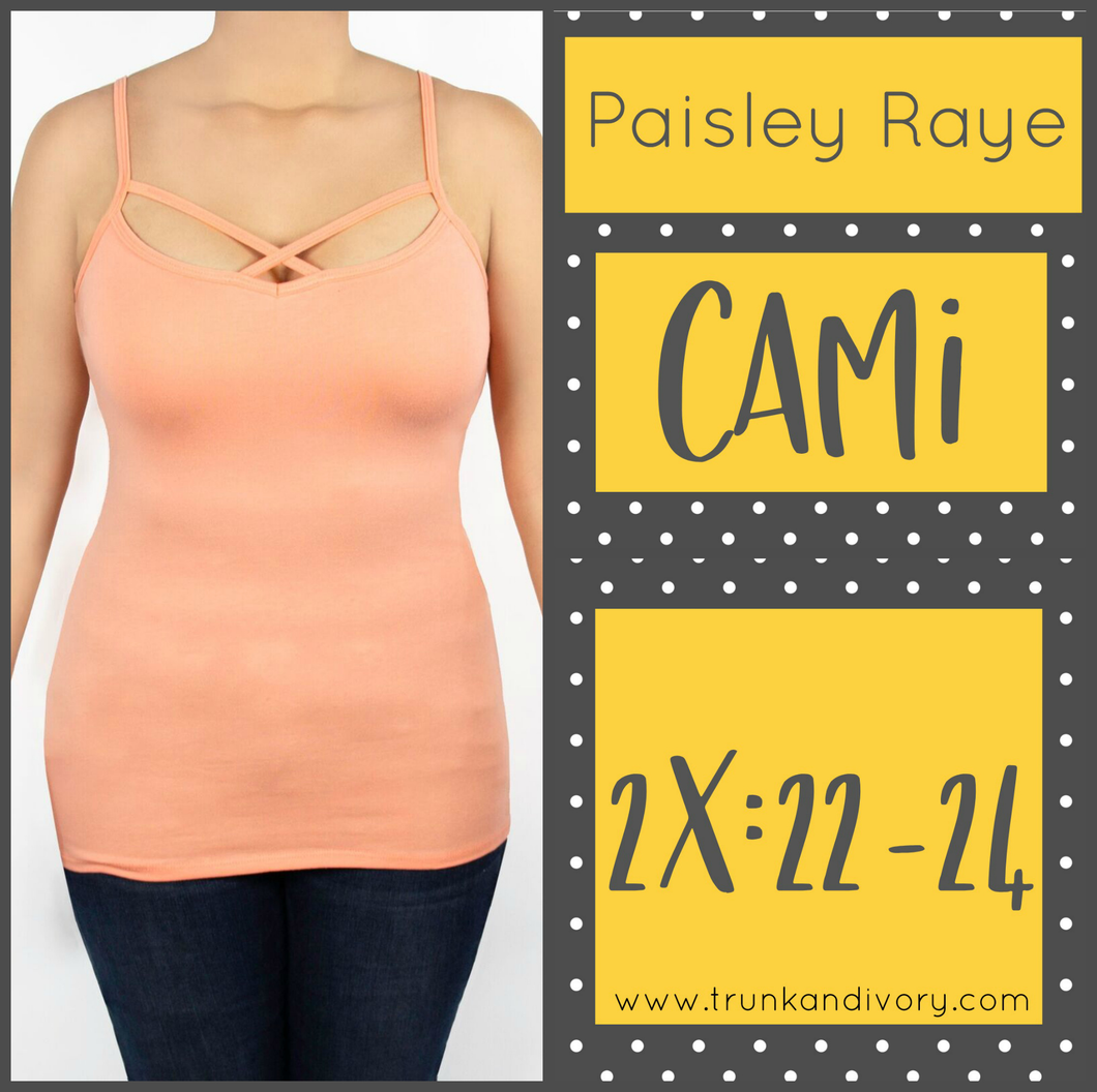 Paisley Raye Criss Cross Cami Top- 2X  - Peach by Trunk and Ivory shop at www.trunkandivory.com