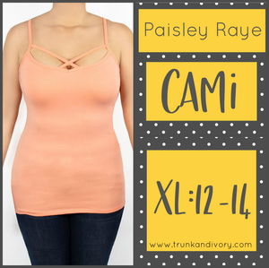 Paisley Raye Criss Cross Cami- XL - Peach  Shop at www.trunkandivory.com