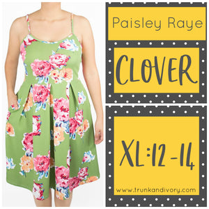 Paisley Raye Clover Spaghetti Strap Dress- Green Floral -XL By, Trunk and Ivory, Shop now at www.trunkandivory.com