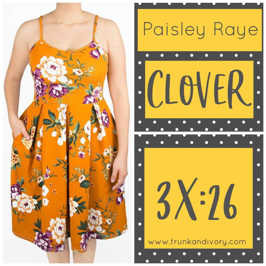 Paisley Raye Clover Spaghetti Strap Dress- Orange Floral -3X By, Trunk and Ivory, Shop now at www.trunkandivory.com