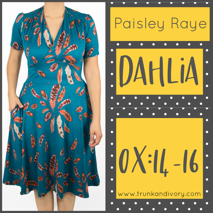 Paisley Raye Dahlia Tea Dress- Teal Floral -Size 0X Shop at Www.trunkandivory.com