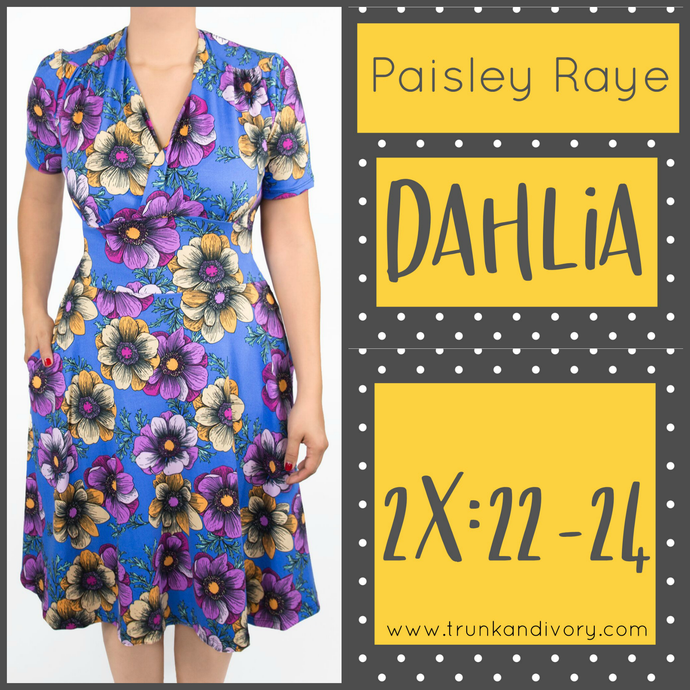 Paisley Raye Dahlia Tea Dress Blue Floral (2X) By: Trunk and Ivory, Shop now at www.trunkandivory.com