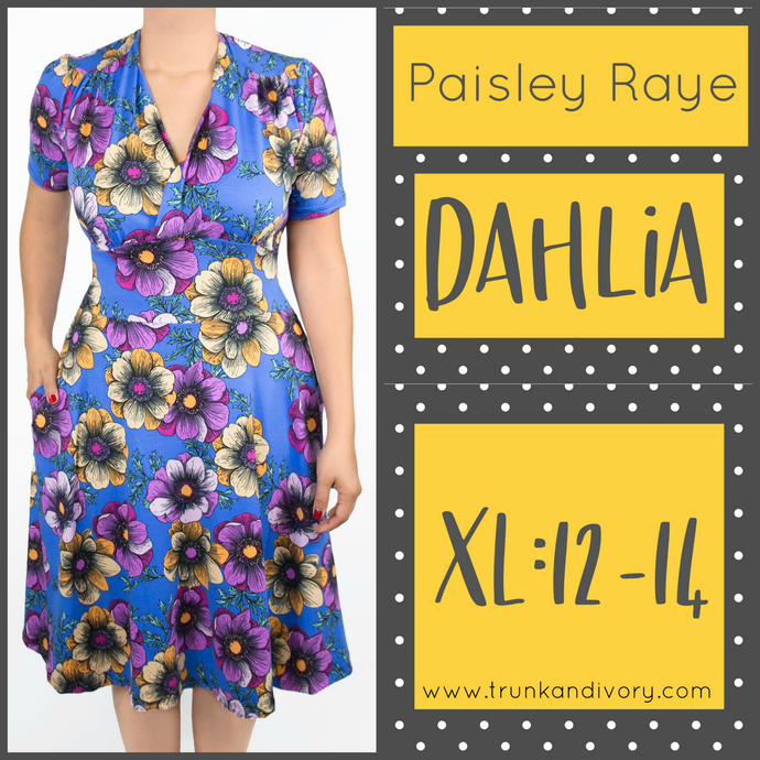 Paisley Raye Dahlia Tea Dress Blue Floral (XL) By: Trunk and Ivory, Shop now at www.trunkandivory.com