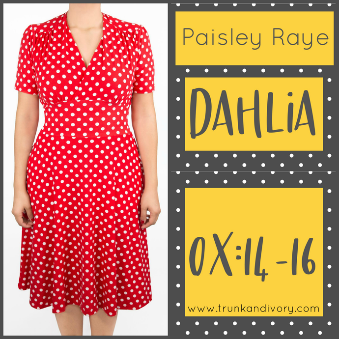 Paisley Raye Dahlia Tea Dress Red Polka Dot (0X) By: Trunk and Ivory, Shop now at www.trunkandivory.com