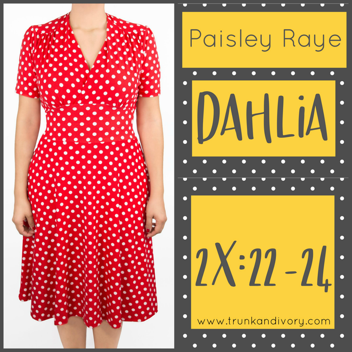 Dahlia Tea Dress- Red Polka Dot -Size 2X