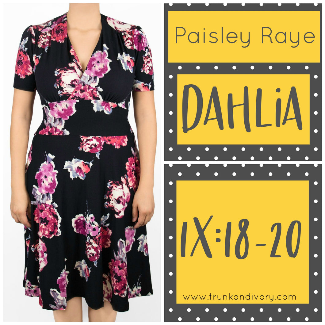 Paisley Raye Dahlia Tea Dress Black Floral (1X) By: Trunk and Ivory, Shop now at www.trunkandivory.com