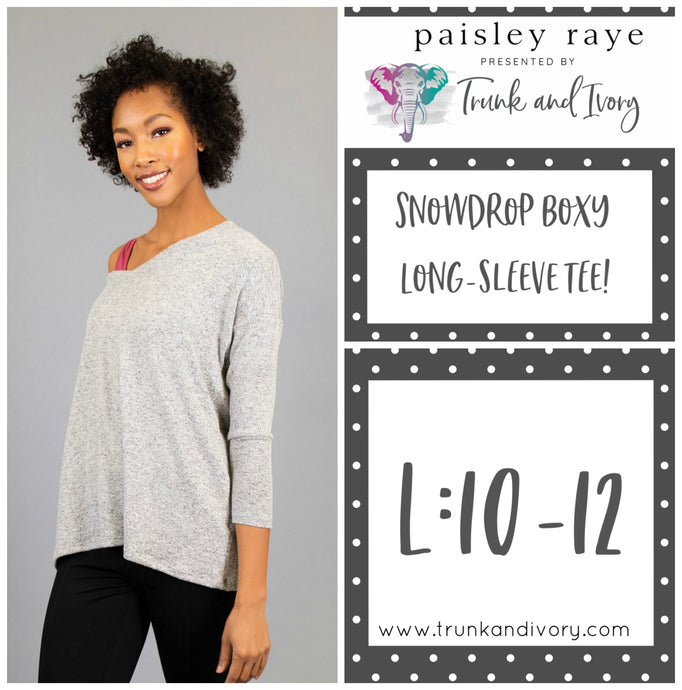 Paisley Raye Snowdrop Long-sleeve gray tee L Shop this and more at www.trunkandivory.com