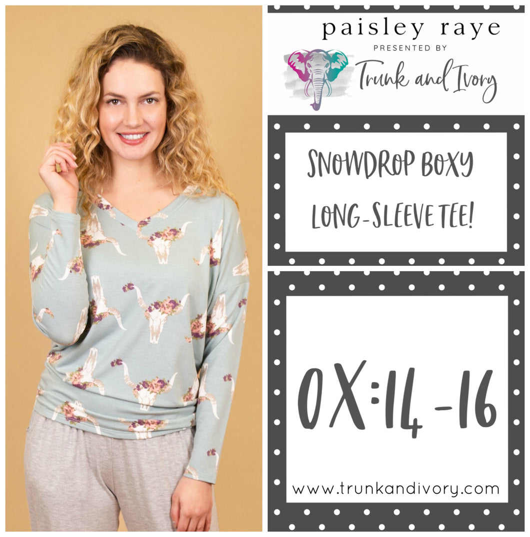 Paisley Raye Snowdrop Long-sleeve longhorn tee 0X Shop this and more at www.trunkandivory.com