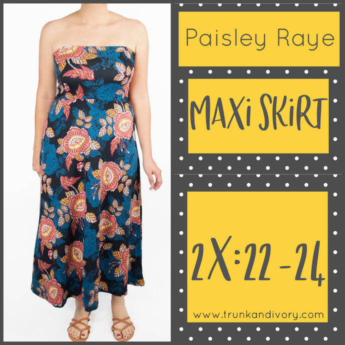 Paisley Raye Convertible Maxi Skirt- Blue Floral- Size 2X