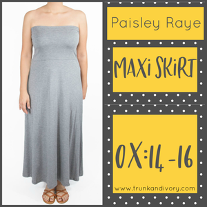 Paisley Raye Maxi Convertible Skirt -Gray- 0X Shop at www.trunkandivory.com
