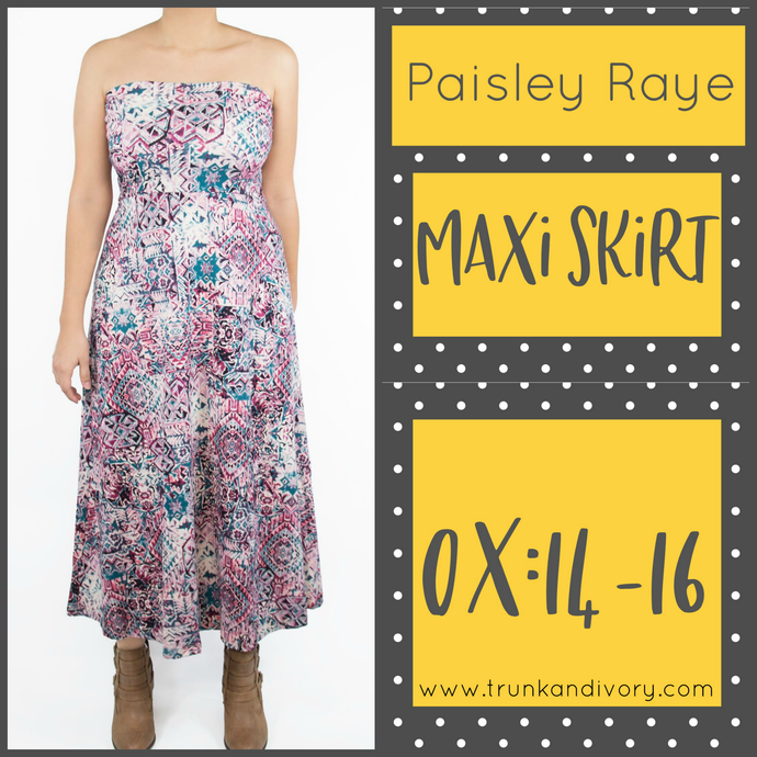 Paisley Raye Convertible Maxi- Pink Print- Size 0X By, Trunk and Ivory, Shop now at www.trunkandivory.com