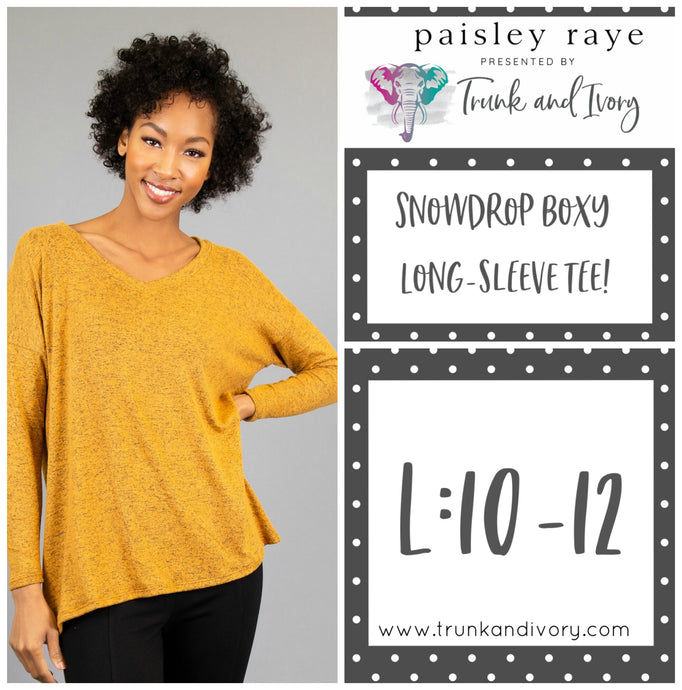 Paisley Raye Snowdrop Long-sleeve mustard yellow tee L Shop this and more at www.trunkandivory.com