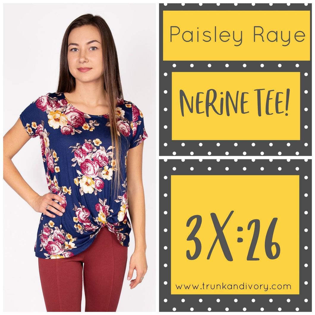 Paisley Raye Nerine Front-Knot Tee Size 3X Shop at www.trunkandivory.com
