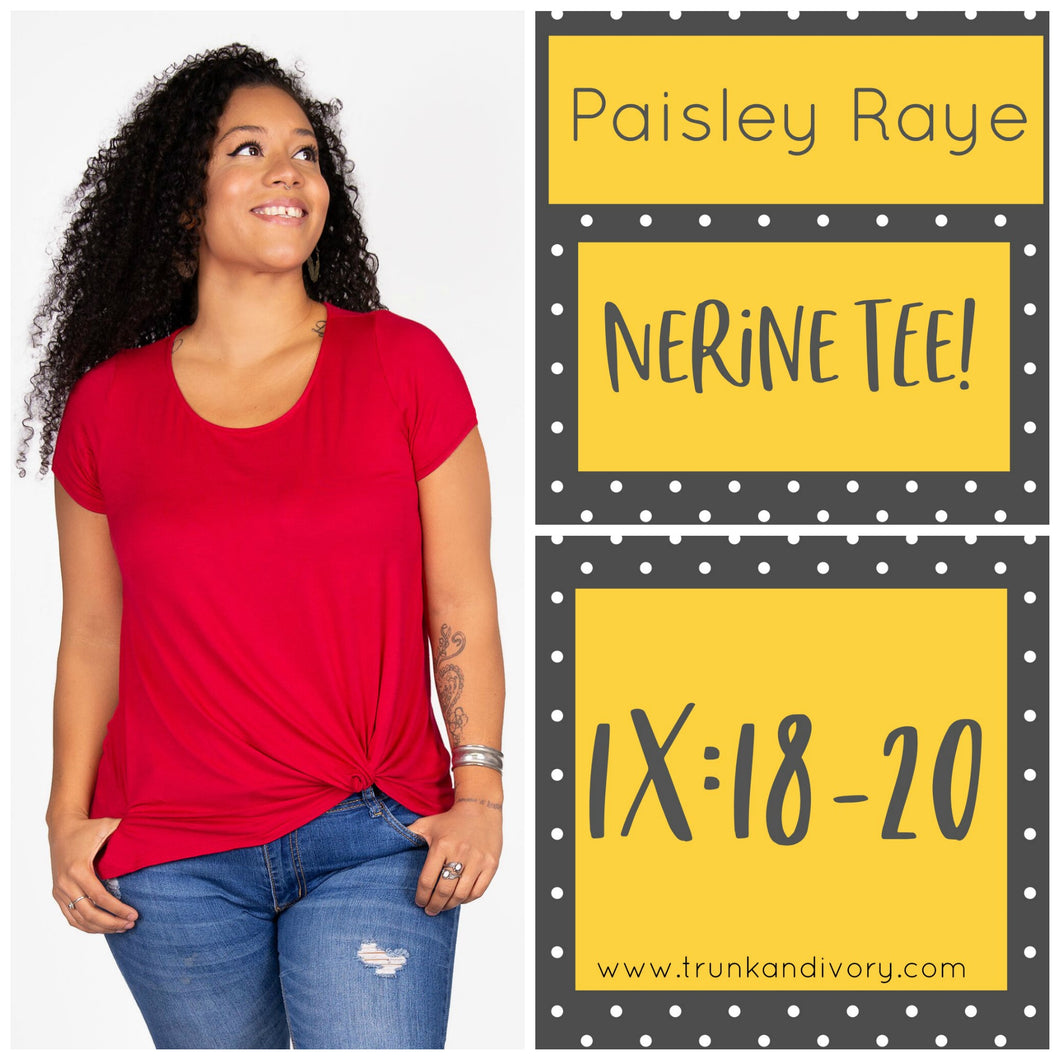 Paisley Raye Nerine Front-Knot Tee 1X Solid Red Shop this and more at www.trunkandivory.com