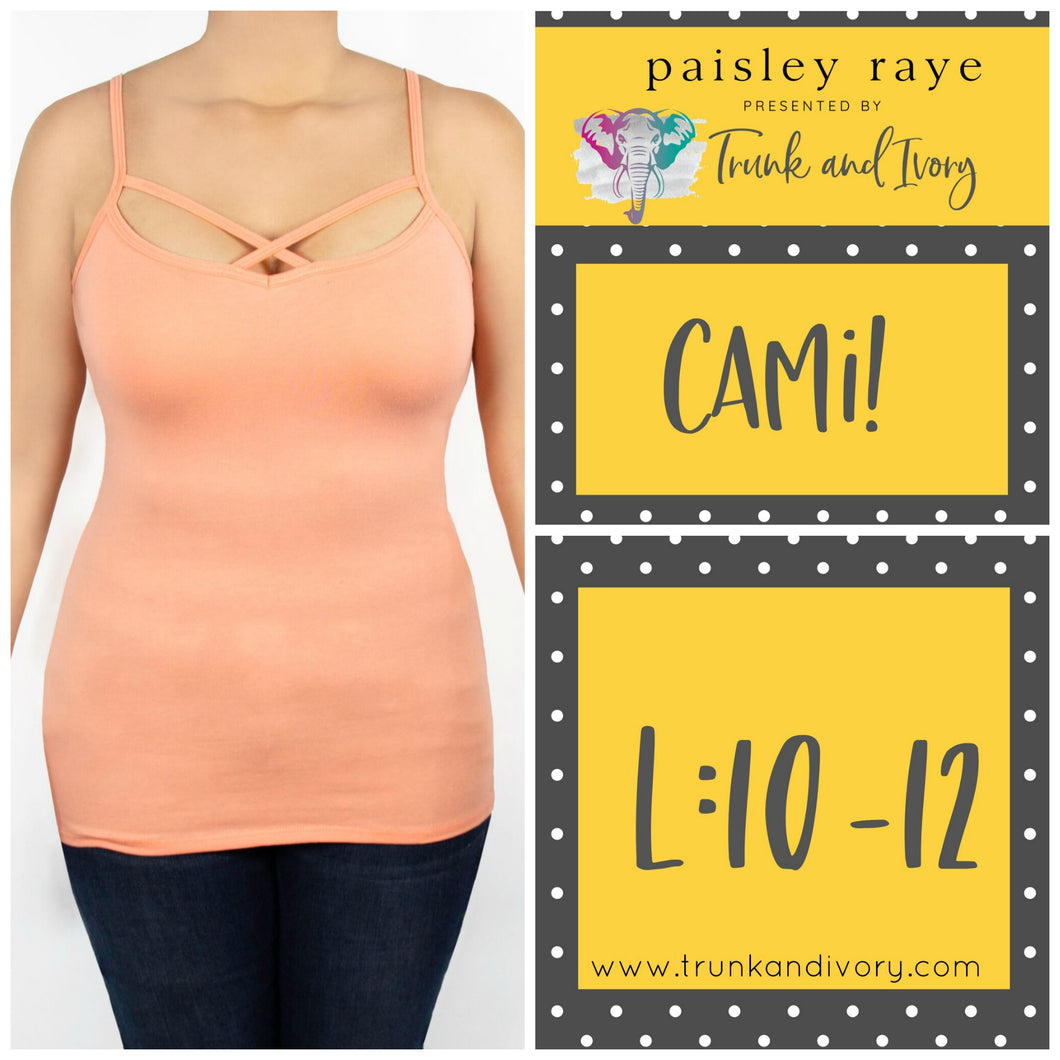 Paisley Raye Criss Cross Cami Top- L - Peach Shop at www.trunkandivory.com