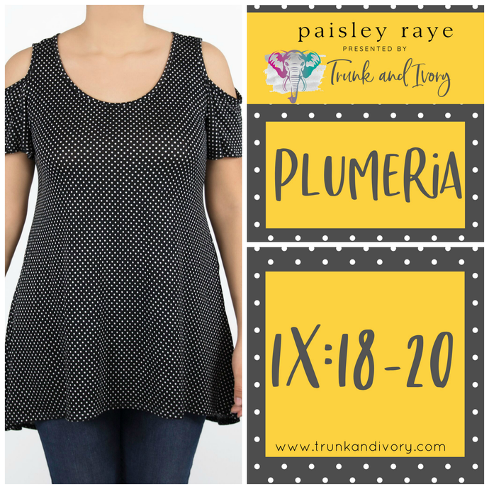 Paisley Raye Plumeria Cold Shoulder Top- Black Polka Dot - 1X By, Trunk and Ivory, Shop now at www.trunkandivory.com