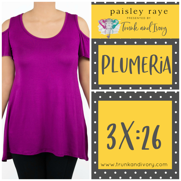 Paisley Raye Cold Shoulder Top Plumeria 3X Wine by Trunk and Ivory Shop at www.trunkandivory.com