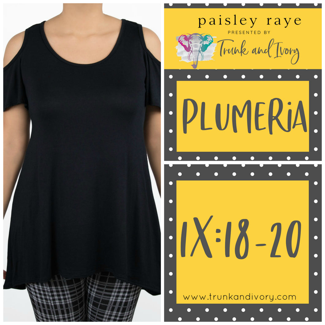 Paisley Raye Cold Shoulder Top Plumeria by Trunk and Ivory Shop at www.trunkandivory.com
