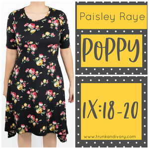 Paisley Raye Poppy T-shirt Dress -Black print- Size 1X By, Trunk and Ivory, Shop now at www.trunkandivory.com