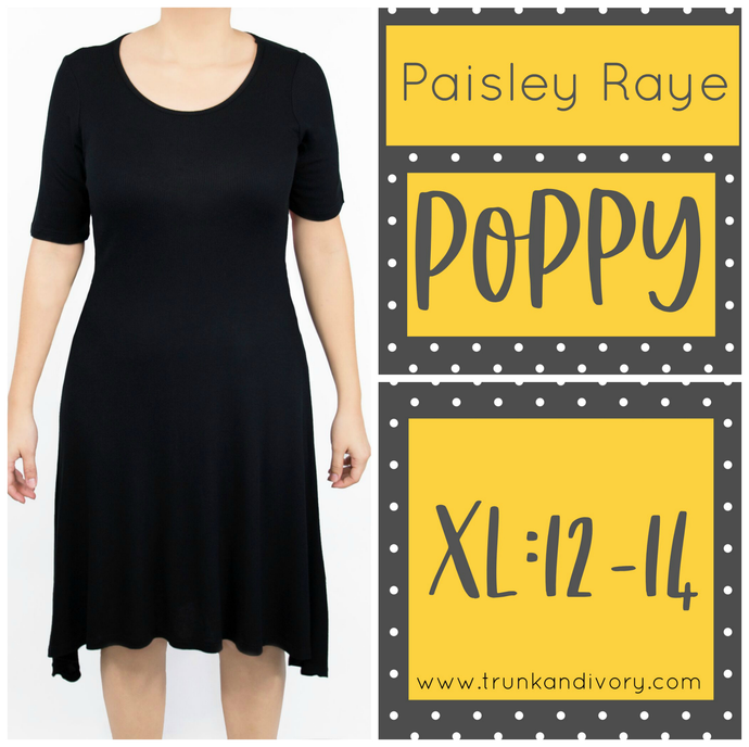Paisley Raye Poppy T-shirt Dress -Black- Size XL Shop at www.trunkandivory.com