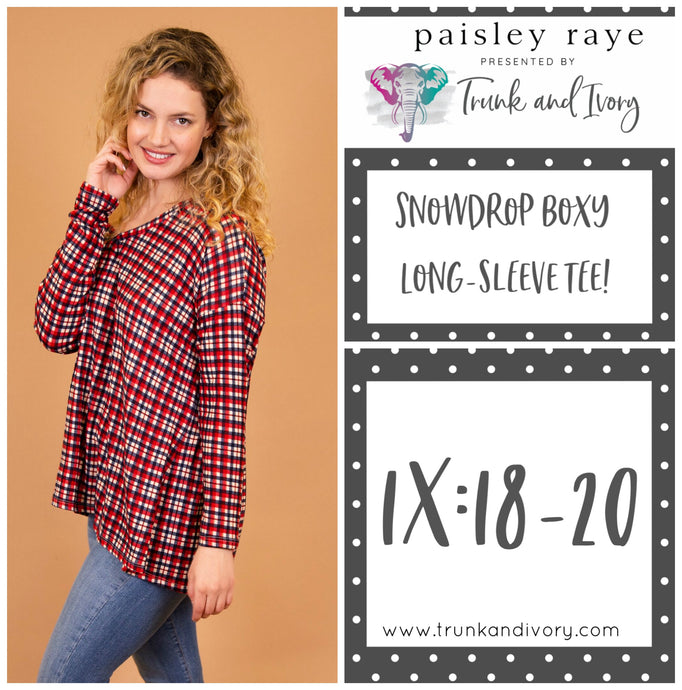 Paisley Raye Snowdrop Long-sleeve red plaid tee 1x Shop this and more at www.trunkandivory.com