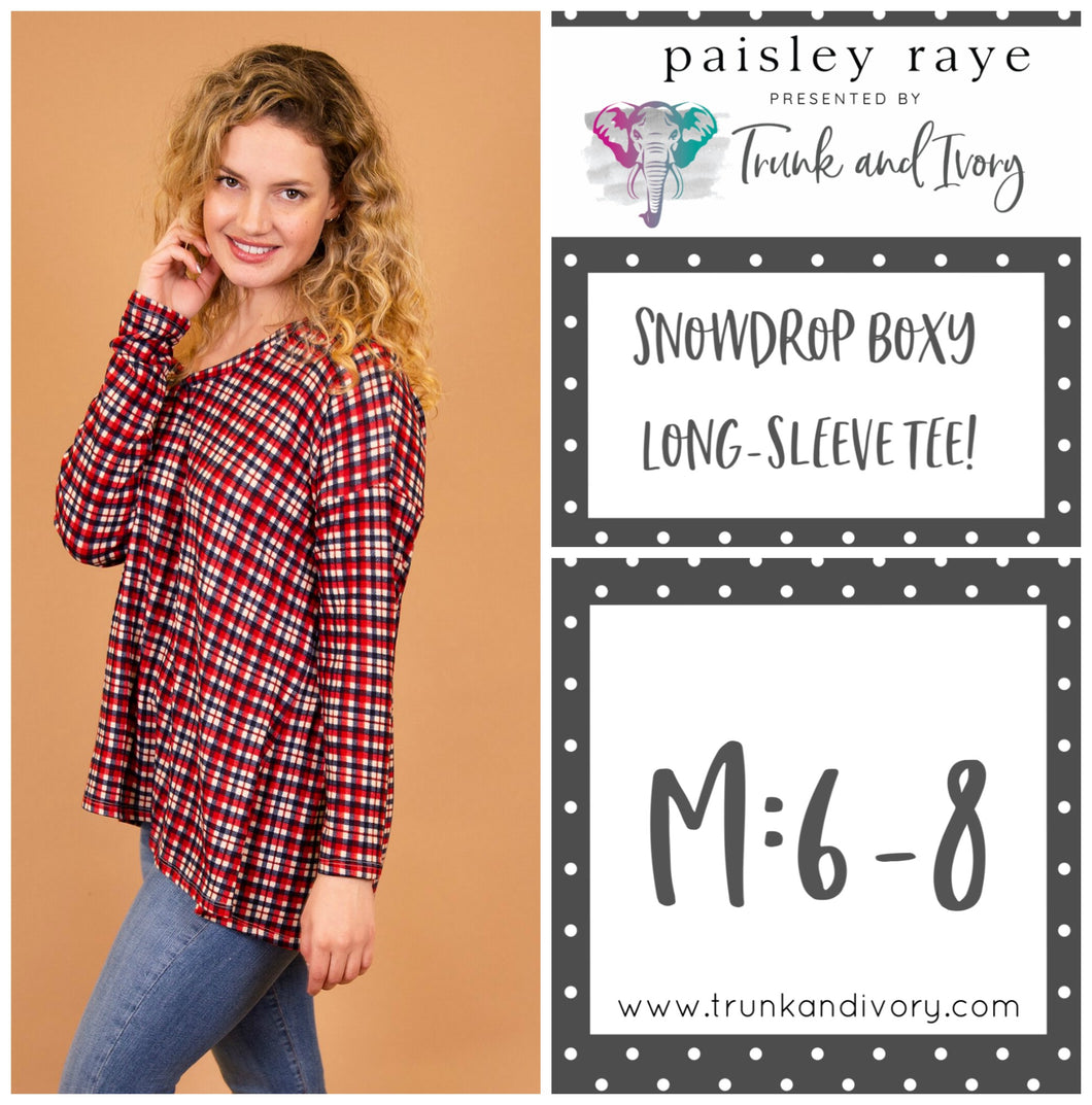 Paisley Raye Snowdrop Long-sleeve red plaid tee M Shop this and more at www.trunkandivory.com