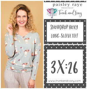 Paisley Raye Snowdrop Long-sleeve blue longhorn tee 3X Shop this and more at www.trunkandivory.com