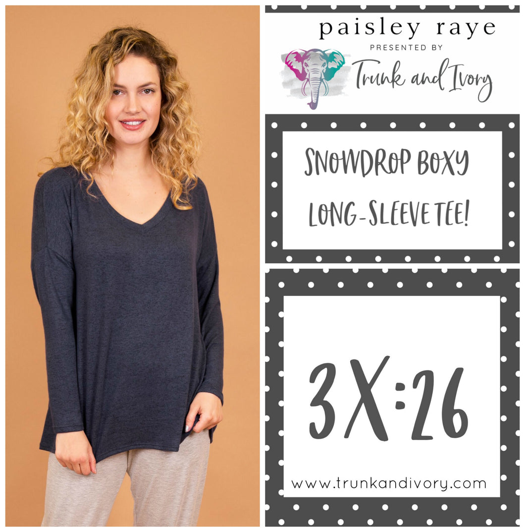 Paisley Raye Snowdrop Long-sleeve blue gray tee 3X Shop this and more at www.trunkandivory.com