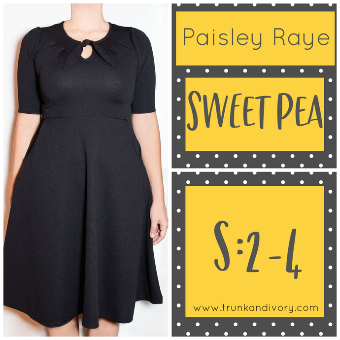 Paisley Raye Sweet Pea Key Hole Dress-Solid Black-S By, Trunk and Ivory, Shop now at www.trunkandivory.com