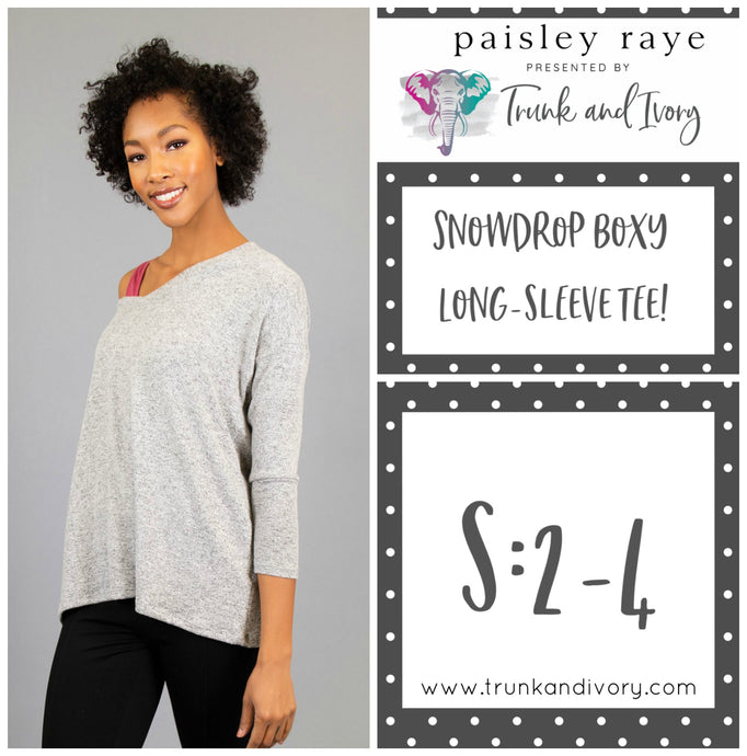 Paisley Raye Snowdrop Long-sleeve gray tee S Shop this and more at www.trunkandivory.com