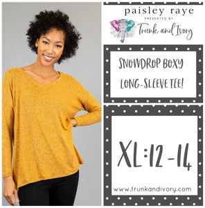 Paisley Raye Snowdrop Long-sleeve mustard yellow tee S Shop this and more at www.trunkandivory.com