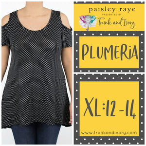 Paisley Raye Plumeria Cold Shoulder Top- Black Polka Dot - XL By, Trunk and Ivory, Shop now at www.trunkandivory.com