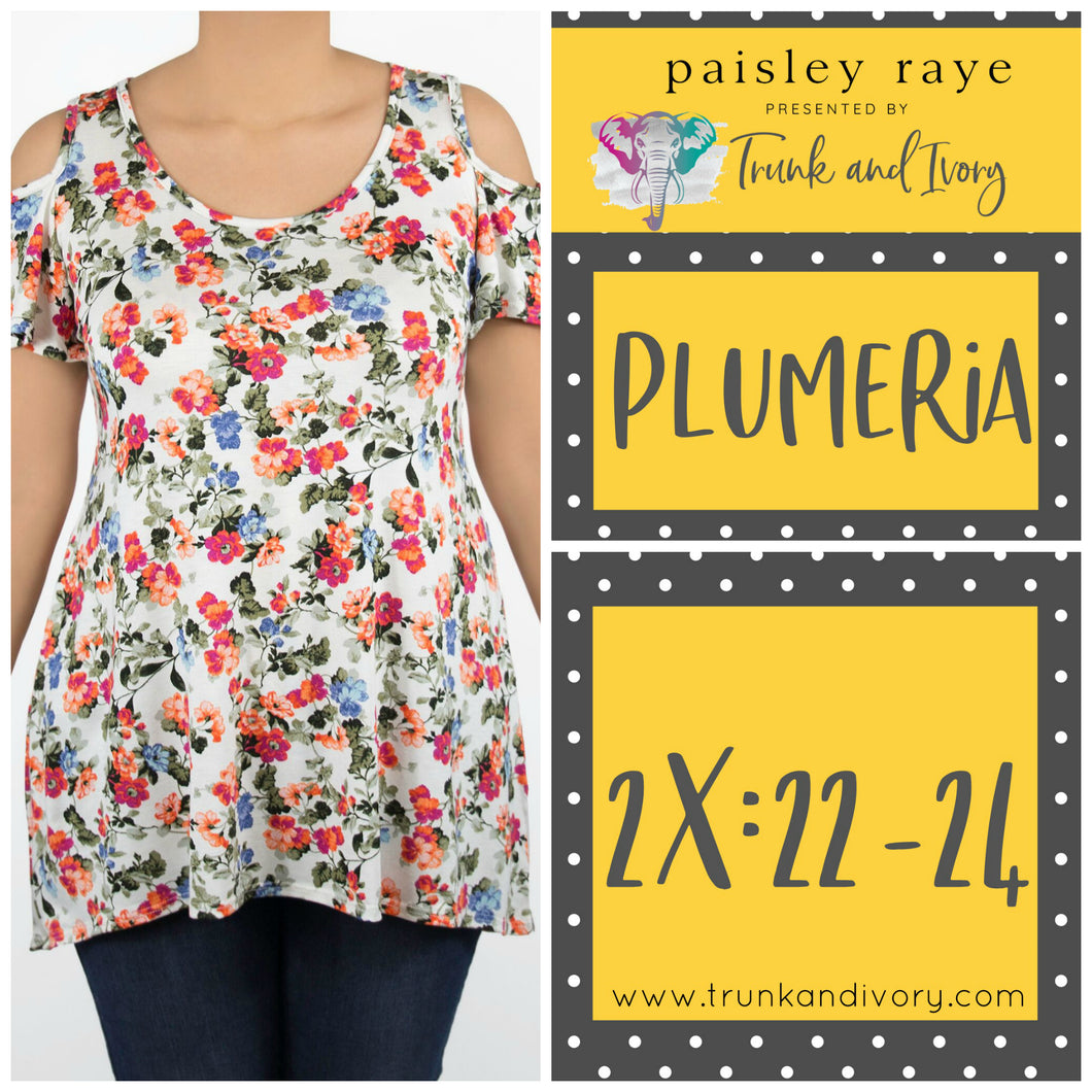 Paisley Raye Cold Shoulder Top Plumeria 2X White Floral by Trunk and Ivory Shop at www.trunkandivory.com