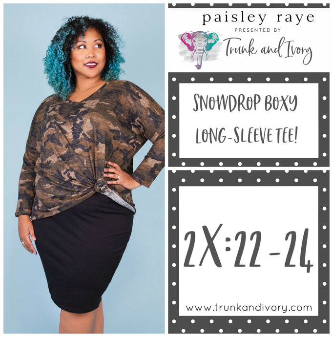 Paisley Raye Snowdrop Long-sleeve camo tee 2X Shop this and more at www.trunkandivory.com