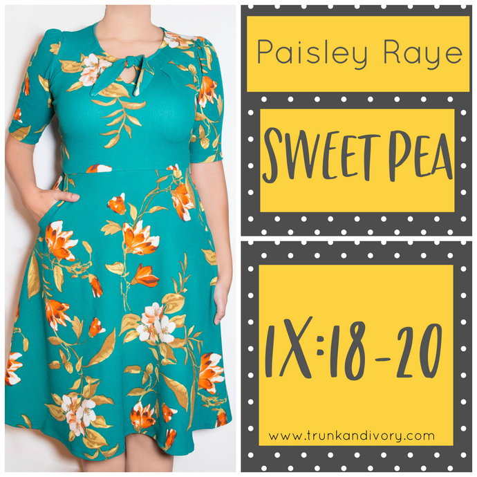 Paisley Raye Sweet Pea Key Hole Dress-Teal Print- 1X