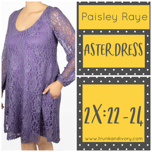 Paisley Raye Aster Dress Size 2X Purple Lace Shop at www.trunkandivory.com